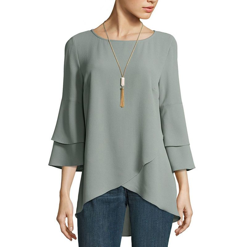 e6f71e09ad766a Alyx 3/4 Sleeve Round Neck Woven Blouse | Products in 2019 | Blouse ...
