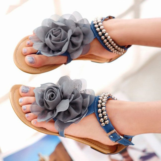 Beige Pink Blue Sweaty Women Flat Sandals With Flower On Top Beading Strip Beach Sandals Womens Sandals Flat Floral Sandals Ankle Strap Flats