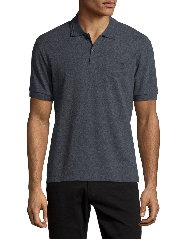 Pique Skull Logo Polo Shirt Medium Gray Men S Size Xx Large