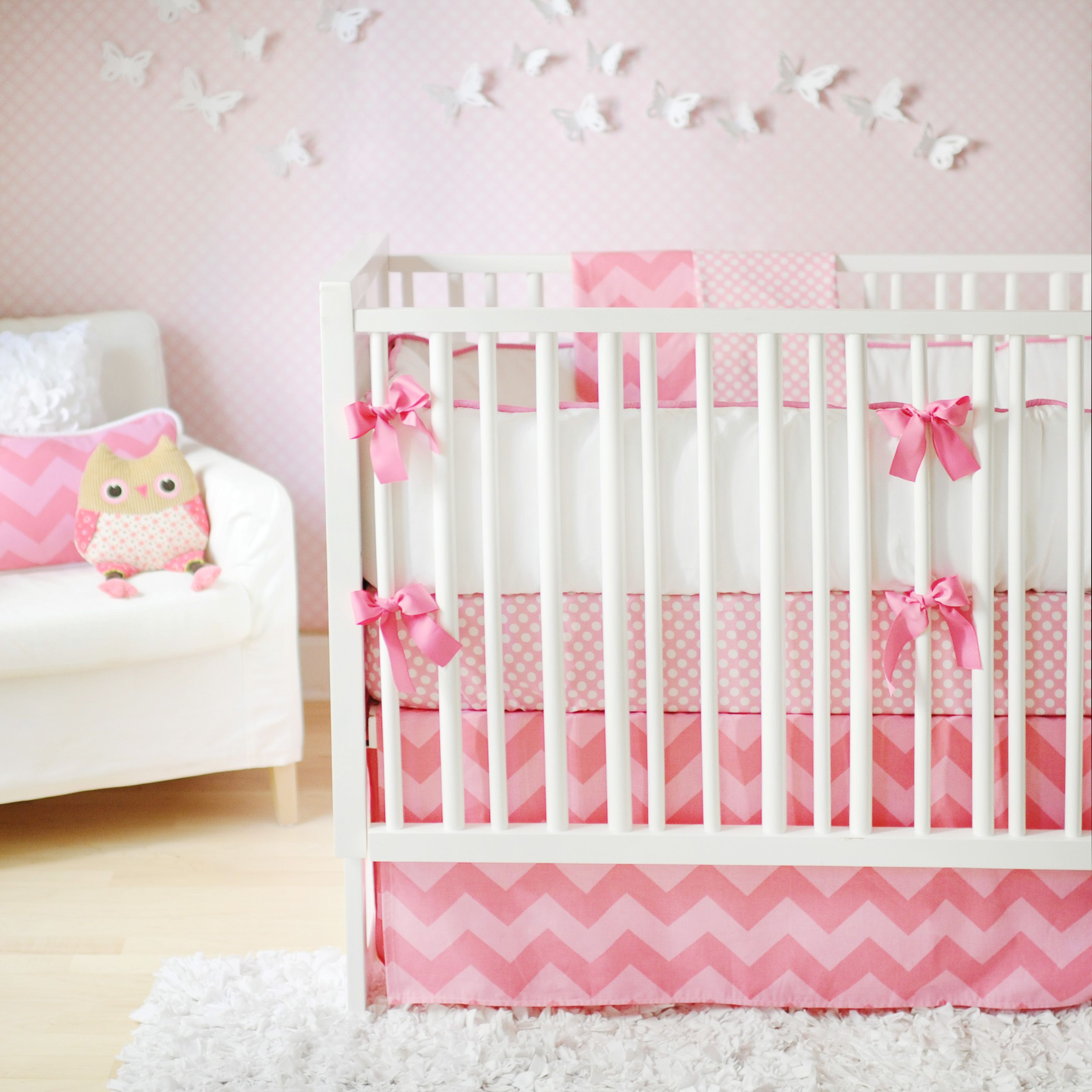 Charming Stylish Baby Girls Crib Bedding With Carpet White Color