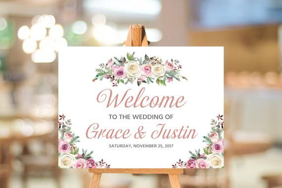 INSTANT DOWNLOAD - EDITABLE - Wedding Welcome Sign - Bridal Shower Welcome Sign - Floral Welcome Sign - Dusty Rose Floral - 16x20 #weddingwelcomesign