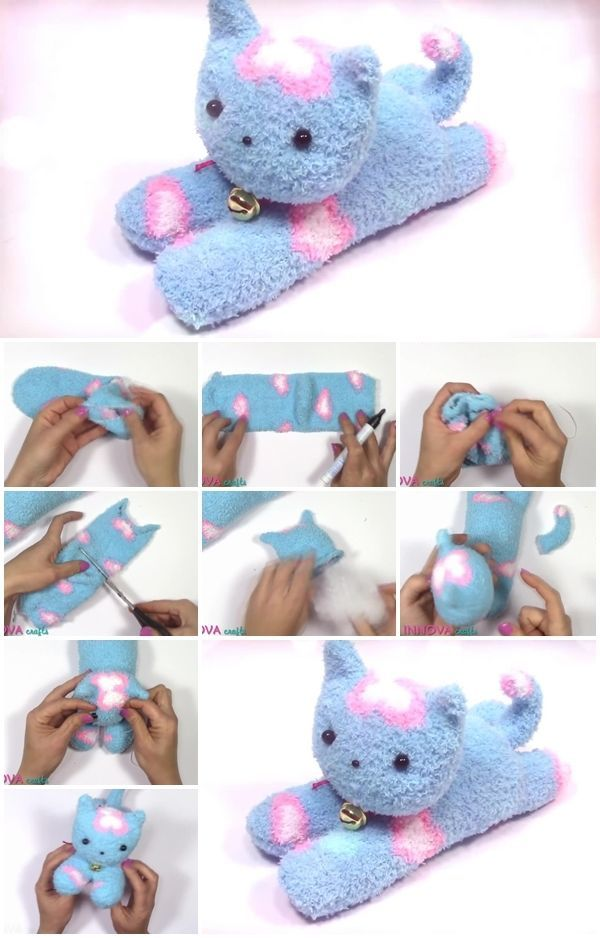 How To Make An Easy Sock Cat Usefuldiy Com Sock Animals Sock