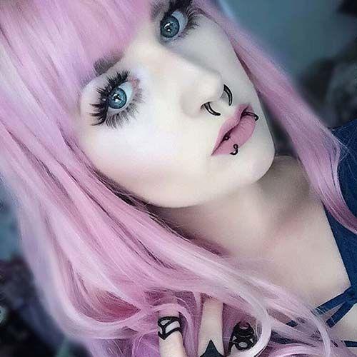 pembe saçlı kız snake bites piercing pink hair girl