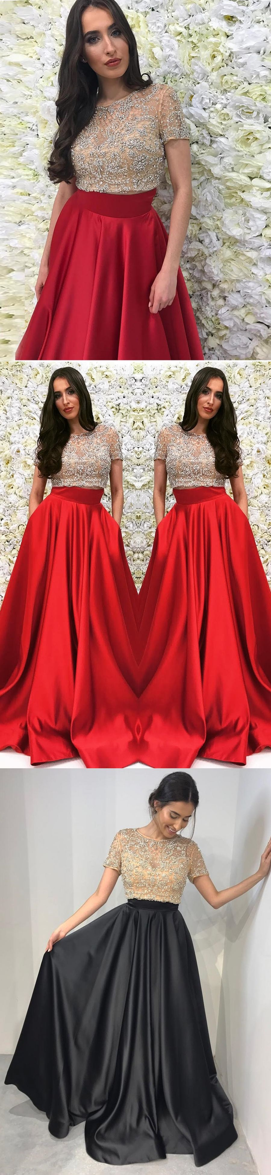 Two piece prom dresses scoop a line sexy long red prom dress jkl