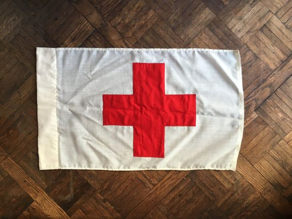 Vintage Red Cross First Aid Flag Double Sided Red Cross Medical Flag American Red Cross Red Cross First Aid American Red Cross Red Cross