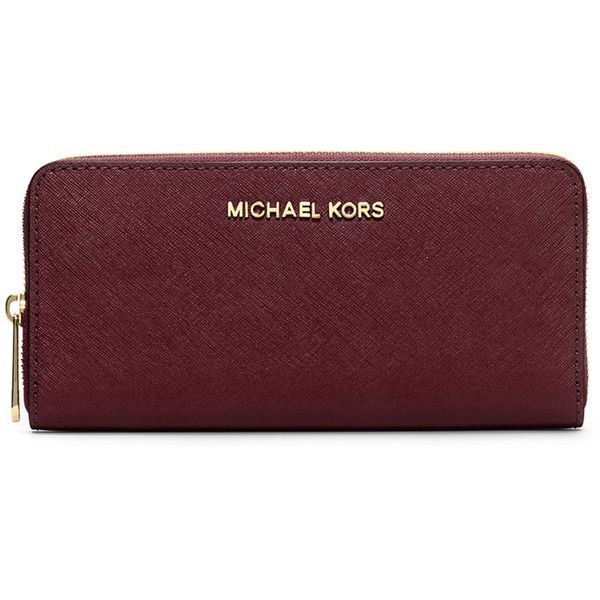 65c90a6411ff MICHAEL Michael Kors Jet Set Zip-Around Continental Travel Wallet ( 138) ❤  liked on Polyvore featuring bags