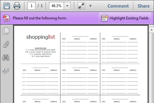 Printable Grocery Shopping List  Organizing