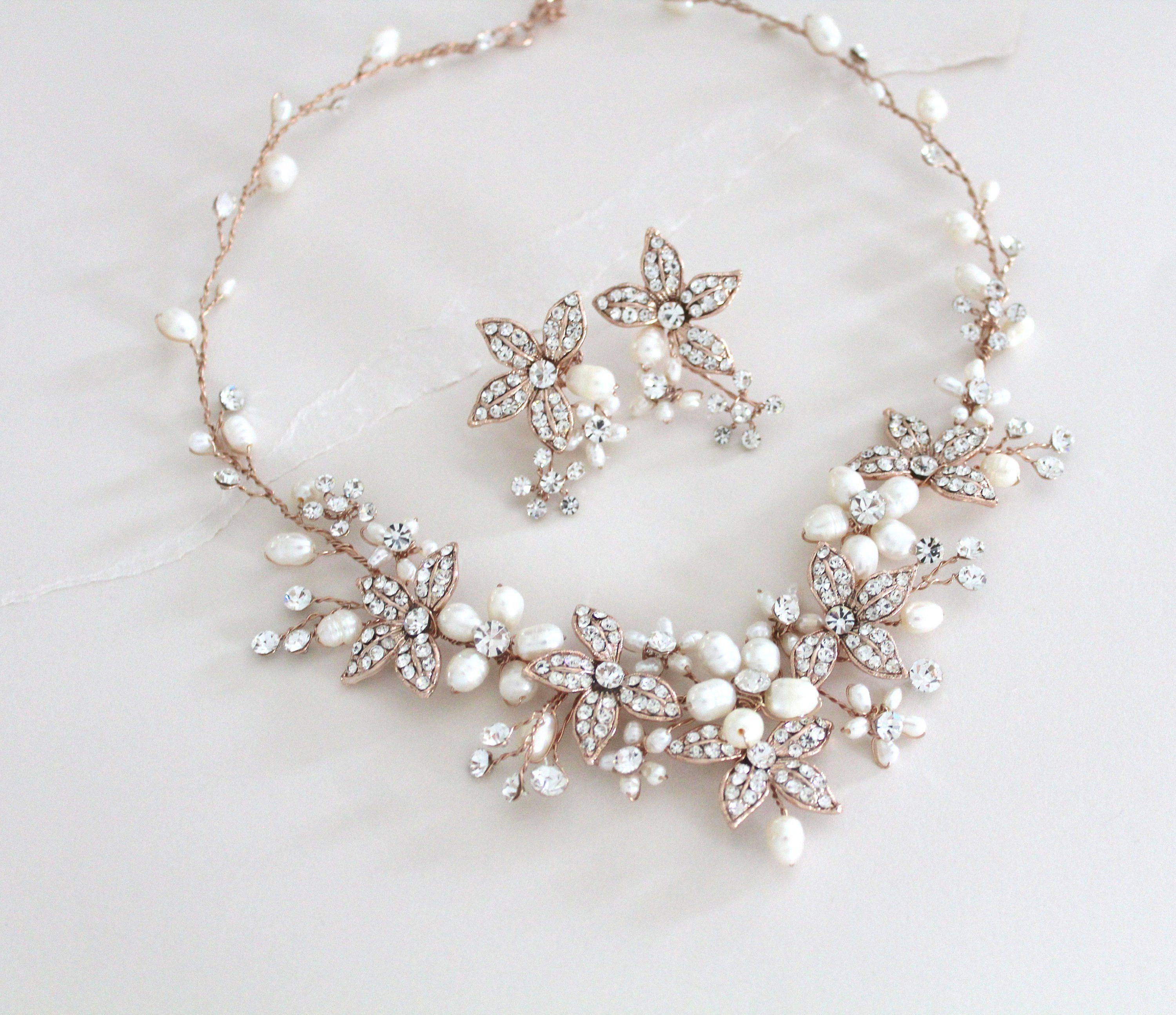 Jewelry Necklace and Earrings-Flower 21