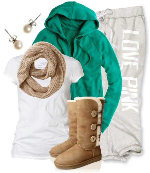 """We just love this """"comfy-chic"""" look featuring the UGG Bailey Button Triplet in Chestnut."""