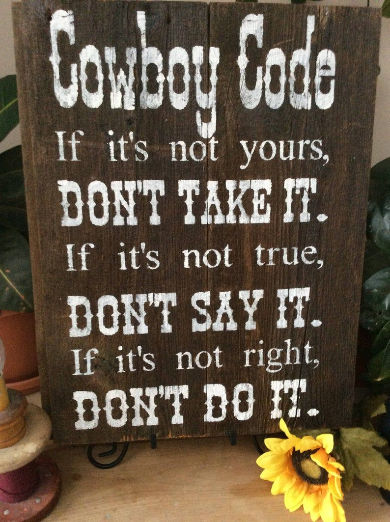 Western Home Decor, Christian Home Decor, Cowboy Code, Cowboy Home Decor, Rustic Home Decor, Christian Cowboy, Western Sign
