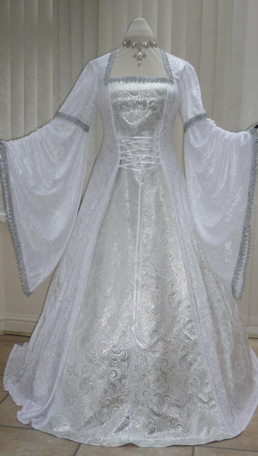 White and Silver Medieval Renaissance Pagan Wedding Dress, Dawns ...