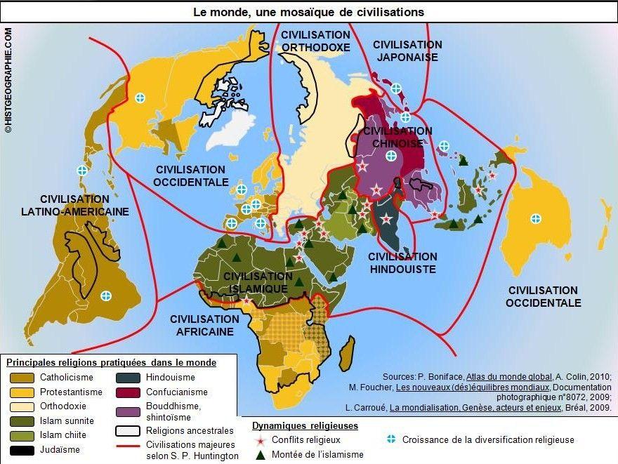 Le Pavage Du Monde En Mosaiques De Civilisations Selon S P Huntington Source C Histgeographie Com D Apres P Atlas Du Monde Civilisation Islamique Le Monde