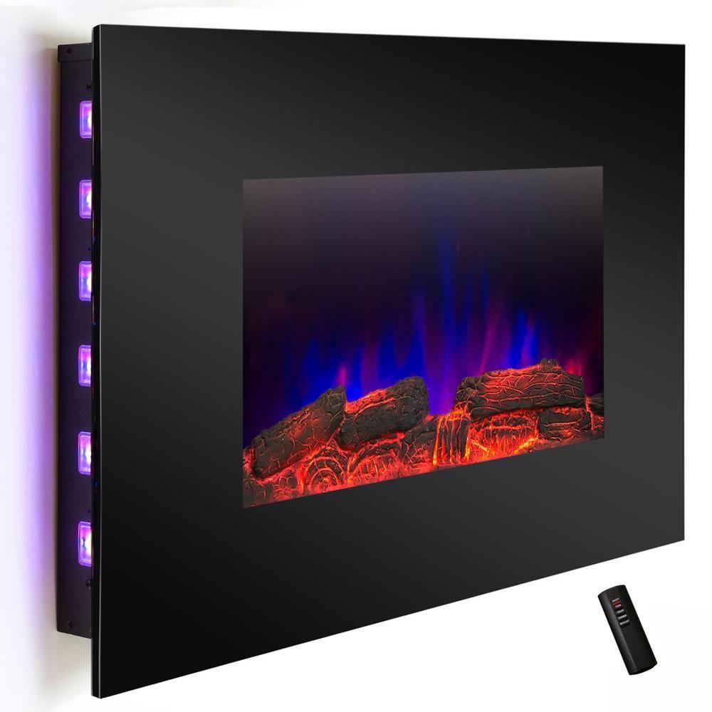 Akdy 36 in wall mount electric fireplace heater in black