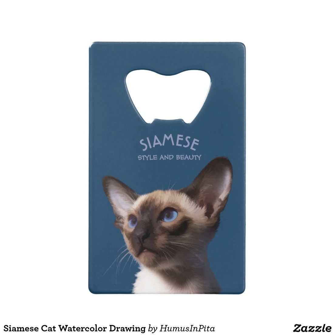 Siamese Cat Watercolor Drawing Wallet Bottle Opener