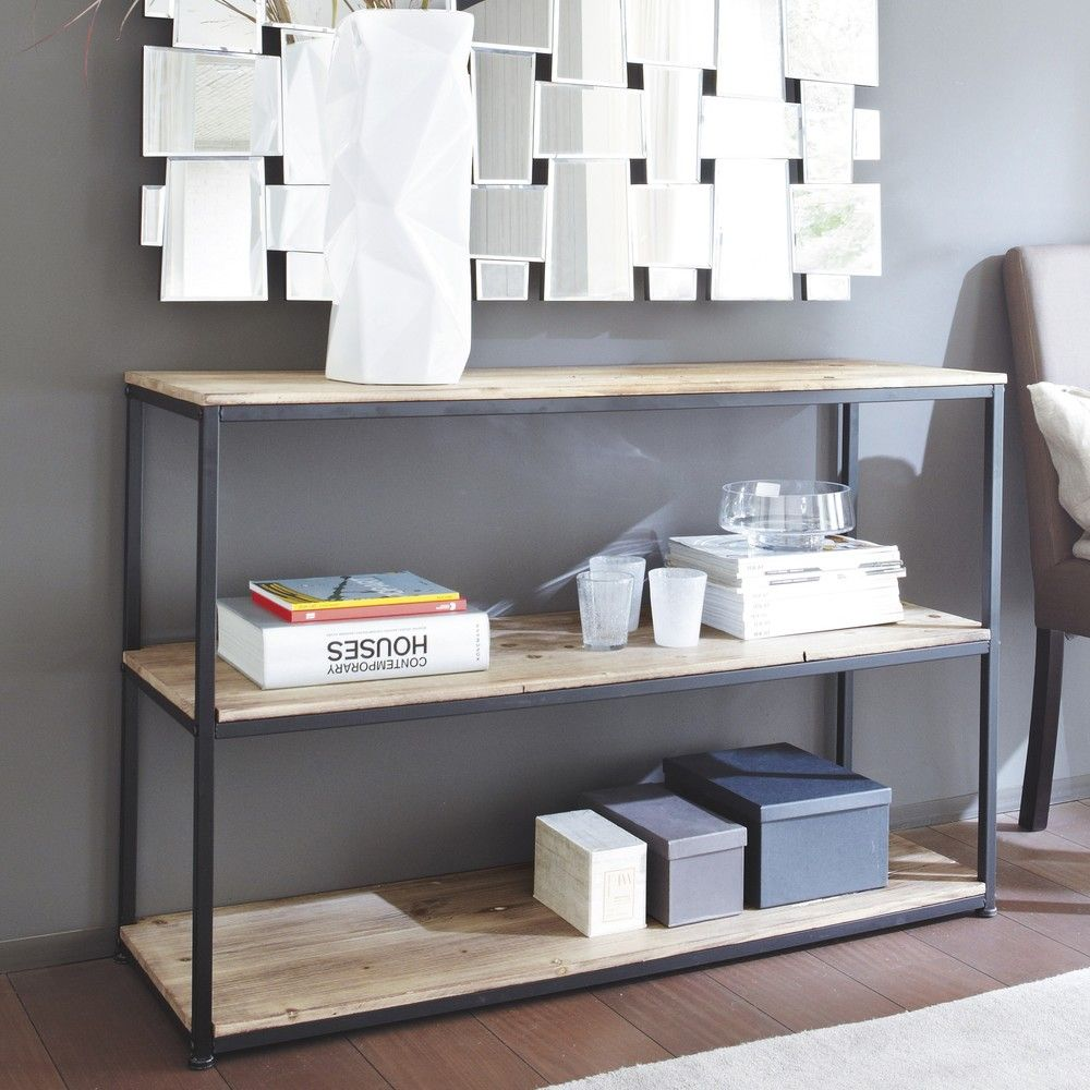 Solid Fir and Black Metal Console in 2019 | #Trending | Make ...