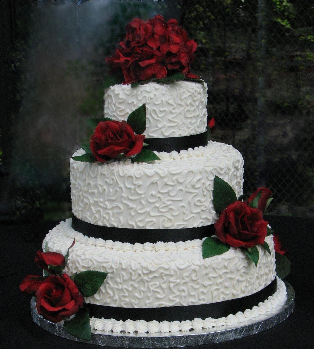 Burgundy And Cream Wedding Cakes Rose Round