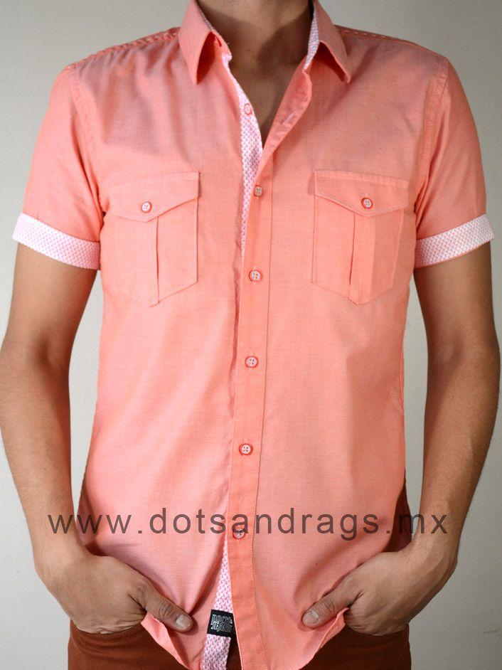 Camisas hombres - Camisa casual lisa color coral con bolsas en el ...
