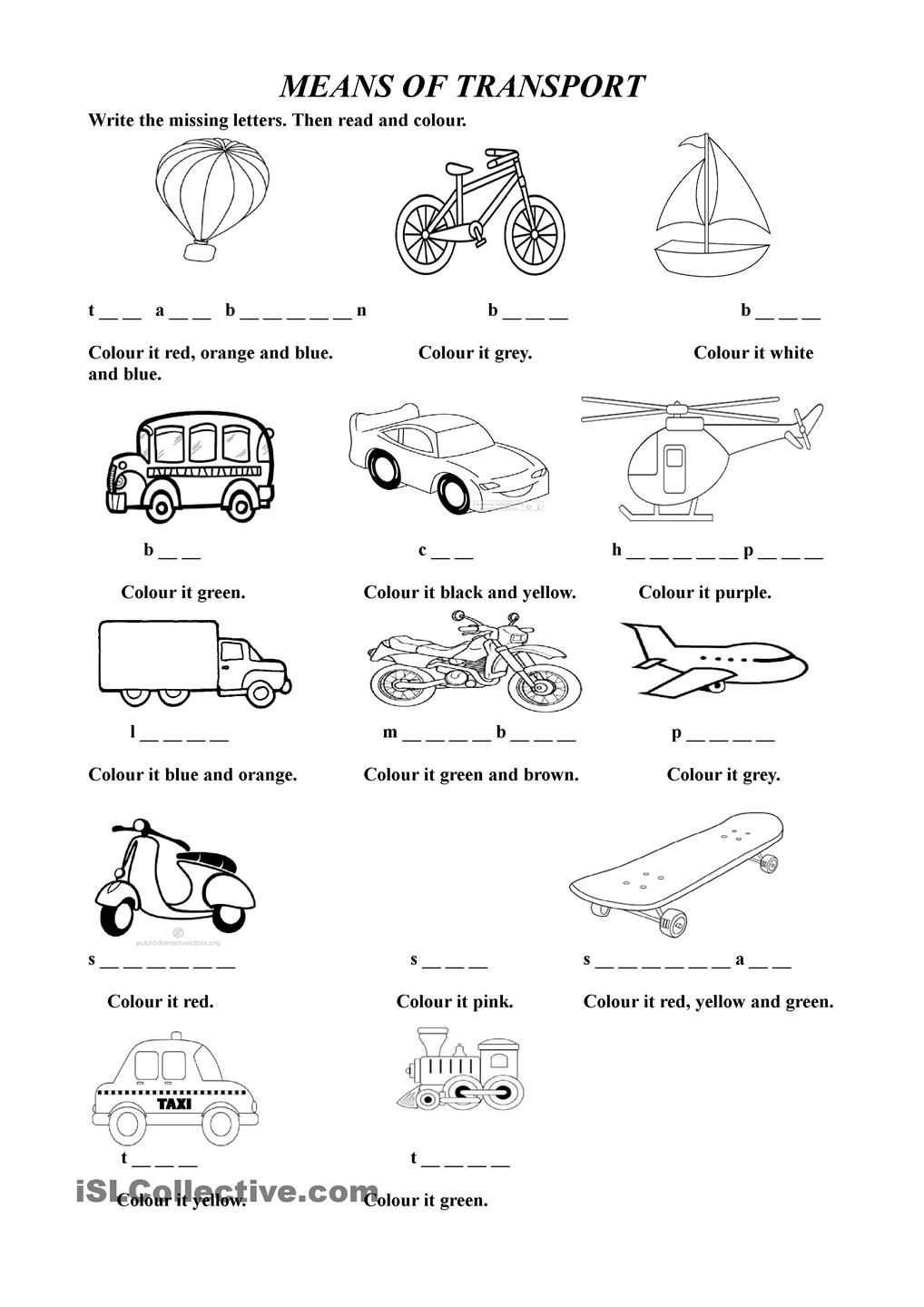 means of transport esl worksheets of the day ingles primaria fichas actividades de ingles. Black Bedroom Furniture Sets. Home Design Ideas