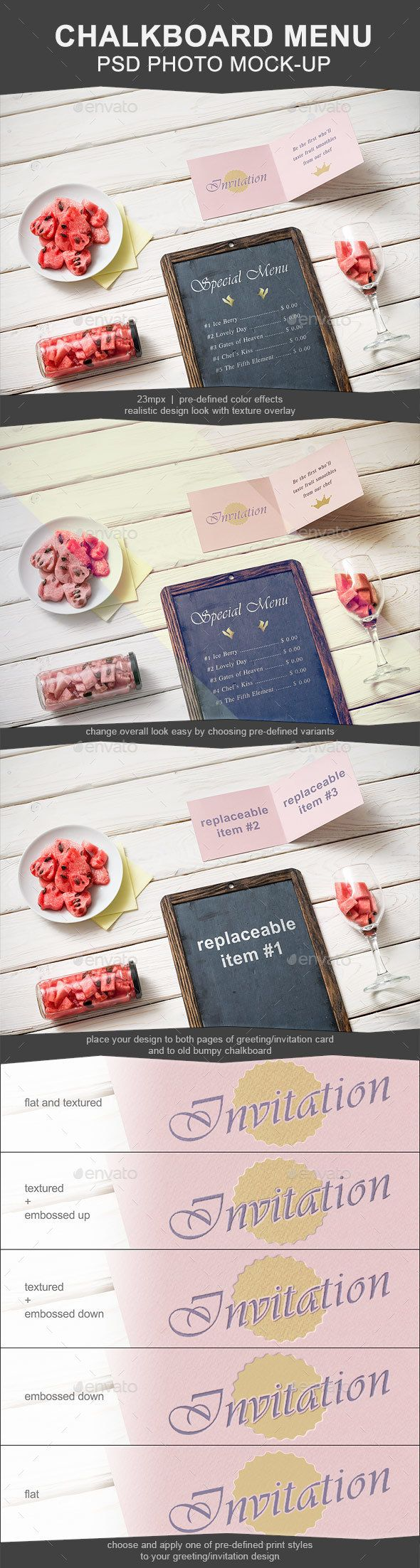 Chalkboard and greeting card mockup mock up chalkboards and mockup invitation cards chalkboards greeting card photoshop fonts menu stopboris Choice Image