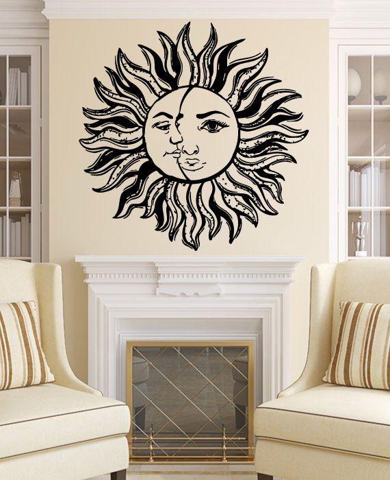 Sun and Moon Wall Decal Vinyl Bedroom Night Boho Ethnic Sticker Home ...