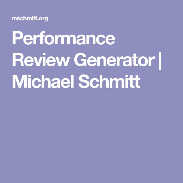 Performance Review Generator   Michael Schmitt   Thinking