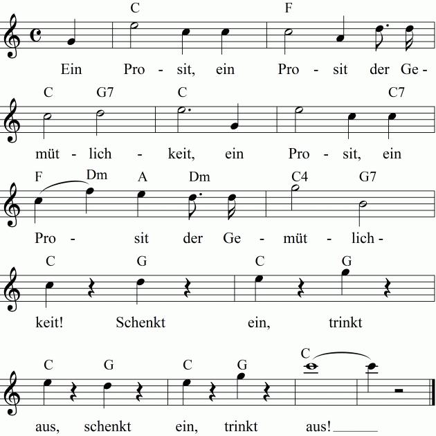Noten Liedtext Und Midi Mp3 Zum Anhoren Des Lieds Ein Prosit Der Gemutlichkeit Ein Prosit Der Gemutlichkeit Ein Prosit Prosit