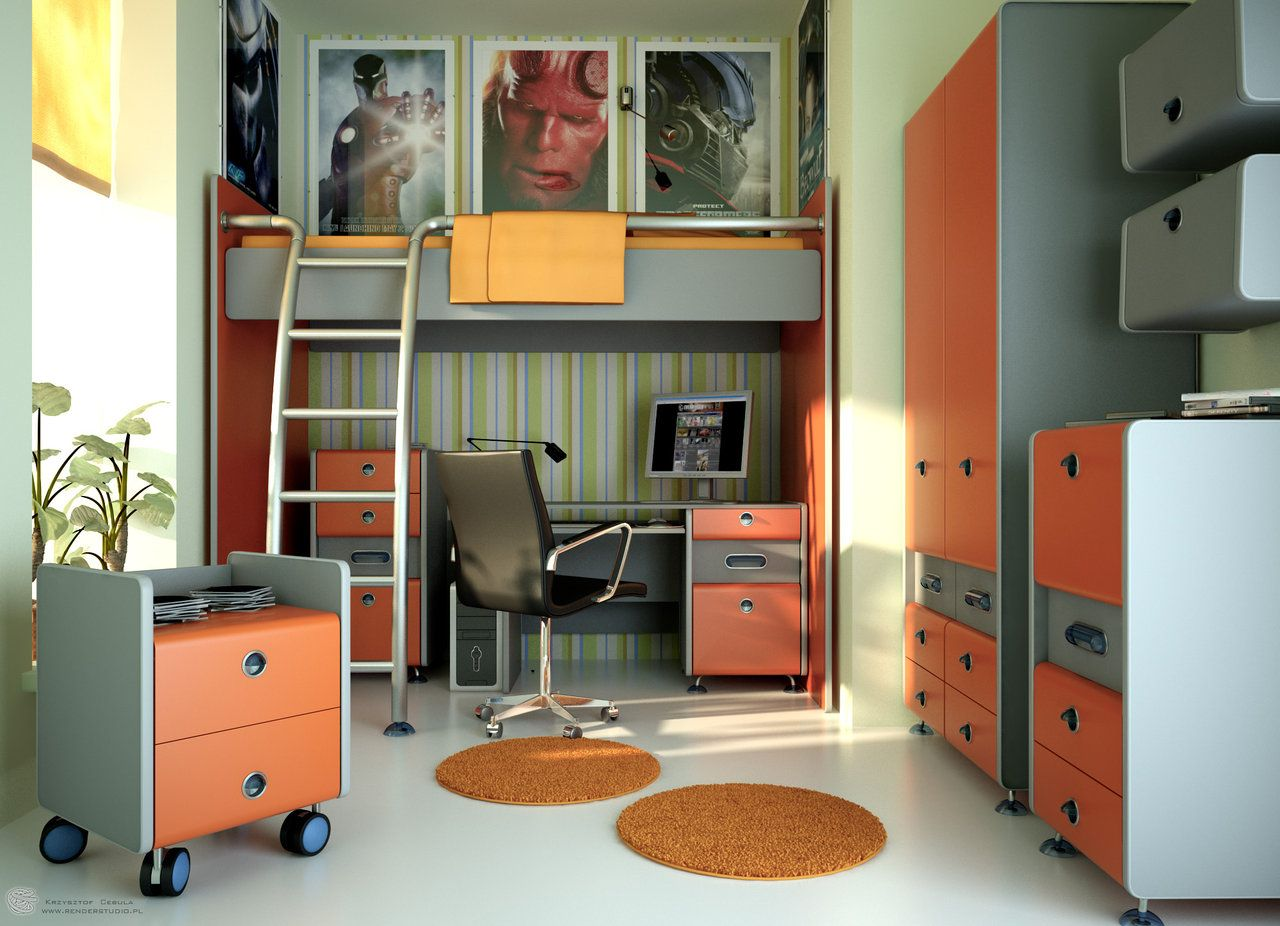 Boys bedroom ideas for small rooms - Trendy And Stylish Teen Room Designs From Young Interior Designers Orange Boys Room Design Evermotion