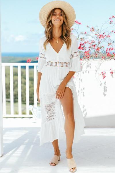 b1d6969797c3 V-neck lace stitching white maxi vacation dress