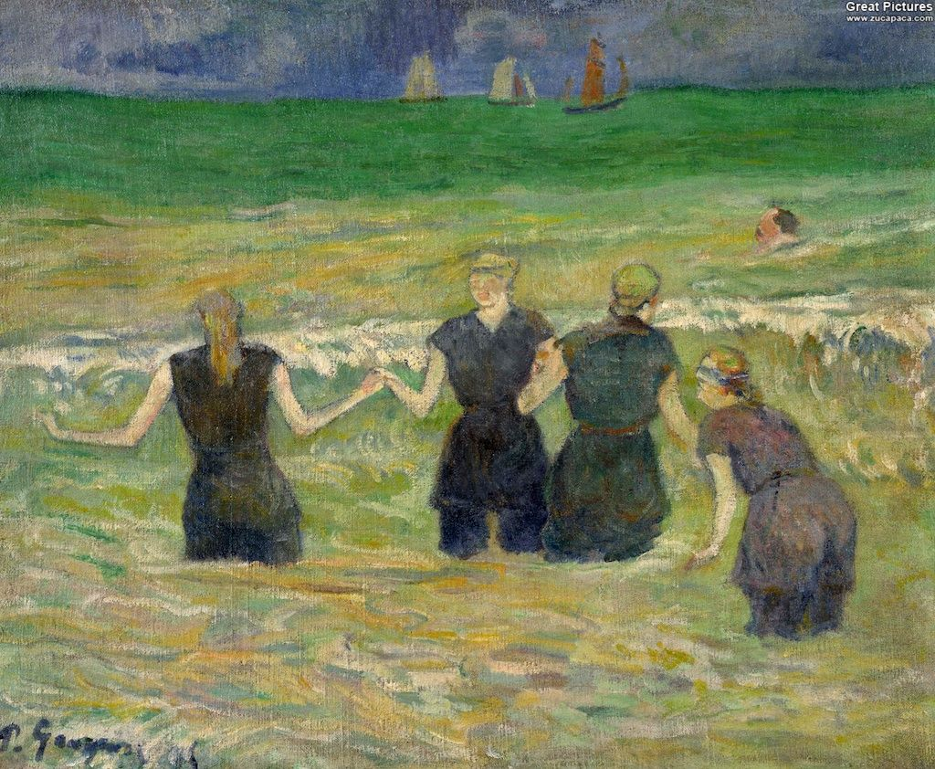 Fauvismo Pintura Paul Gauguin Women Bathing 1885 Oil On Canvas 38 1 X