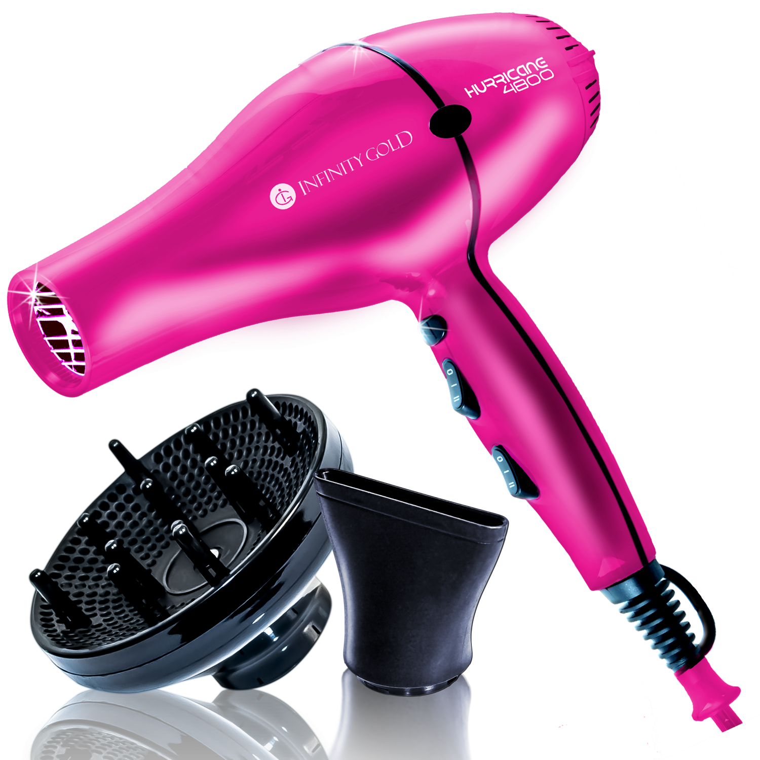 Infinity Gold Blow Dryer Ceramic Tourmaline With 1 Concentrator Diffuser Ig2p Pink Hair Dryers Pink Hair Dryer Blow Dryer Reviews Blow Dryer