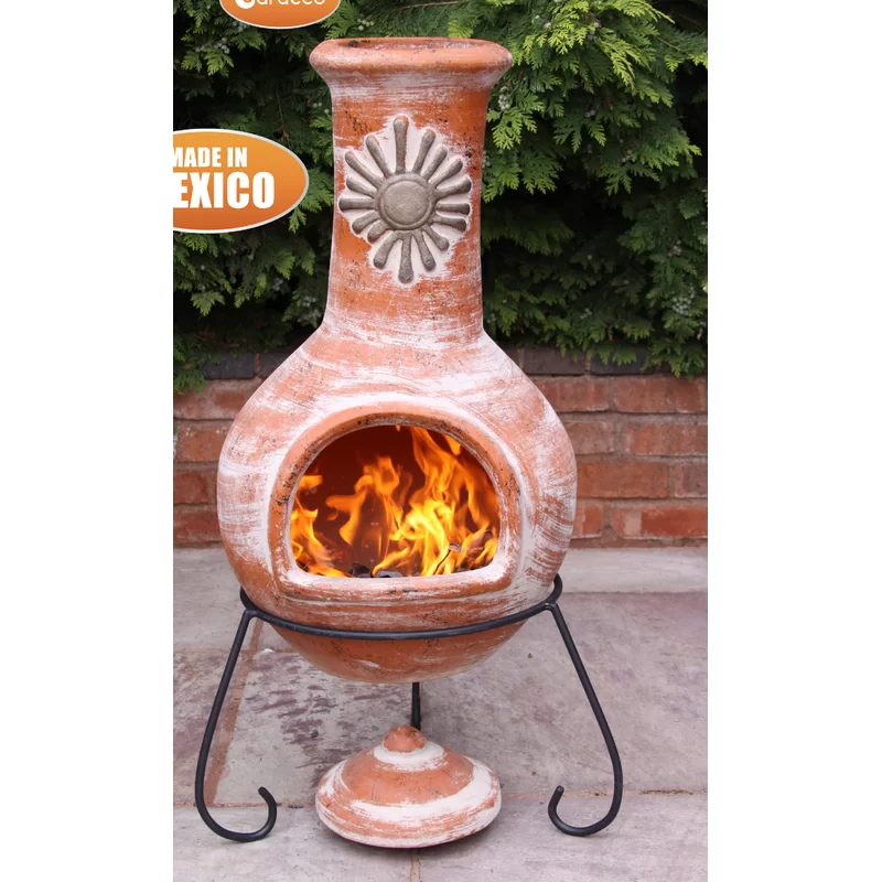Hashimoto Clay Wood Burning Chiminea In 2020 Chiminea Wood Fire Pit Propane Fire Pit Table