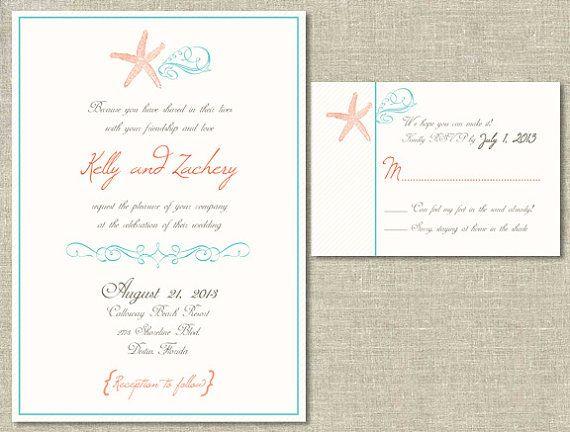 Beach Wedding Invitation Rsvp Card Set Diy By Thegirlinplaid