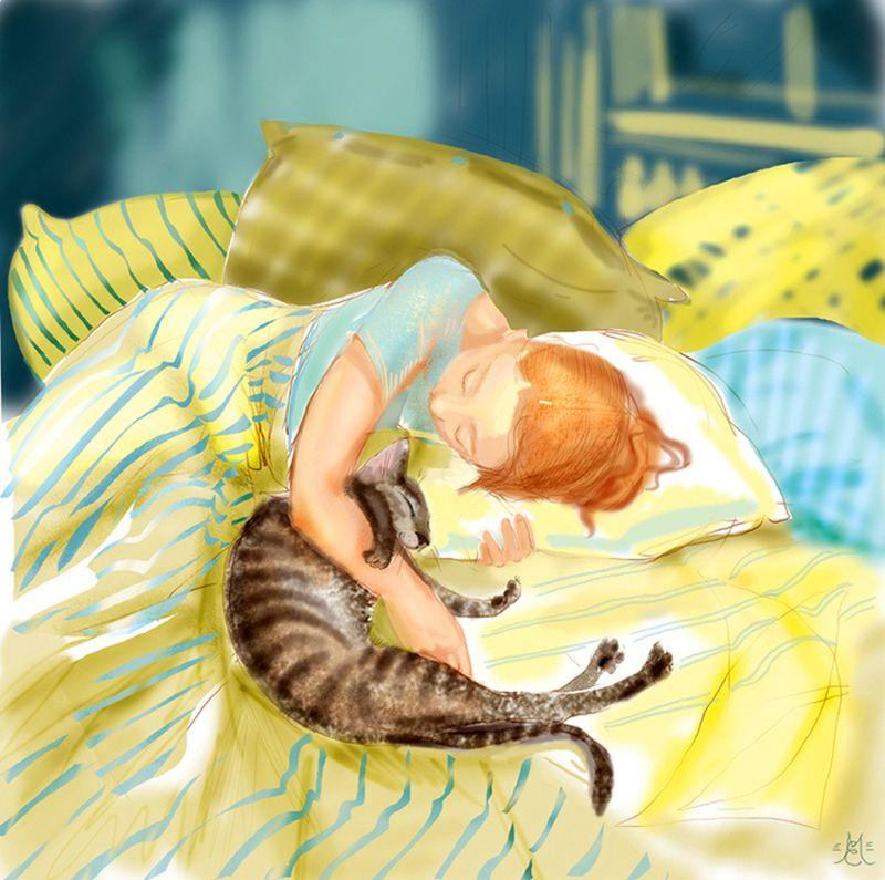 Мужу, открытка спящая девушка
