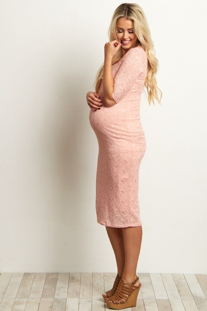 Pink and Brown Maternity Dress