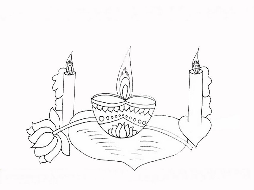 Printable Deepavali Coloring Pictures Images Of Diyas Crackers