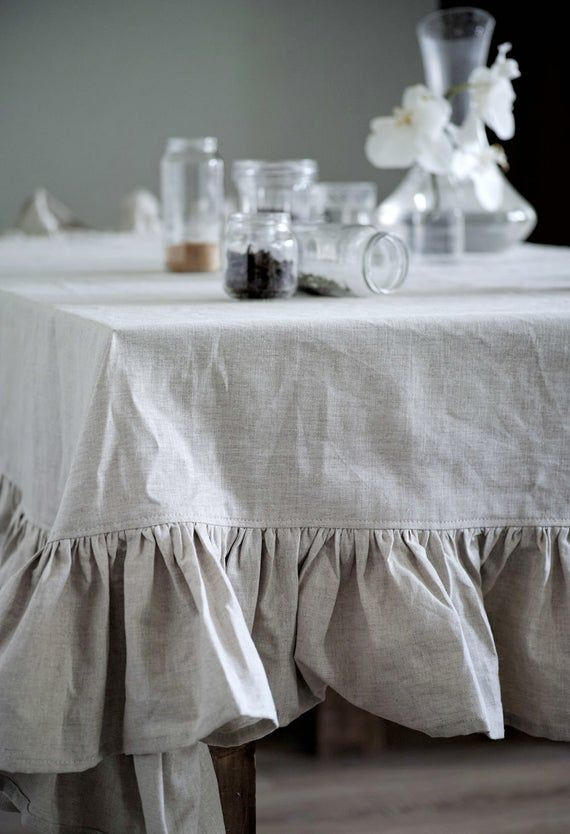 White Linen Tablecloth Large Custom Tablecloth Red And White