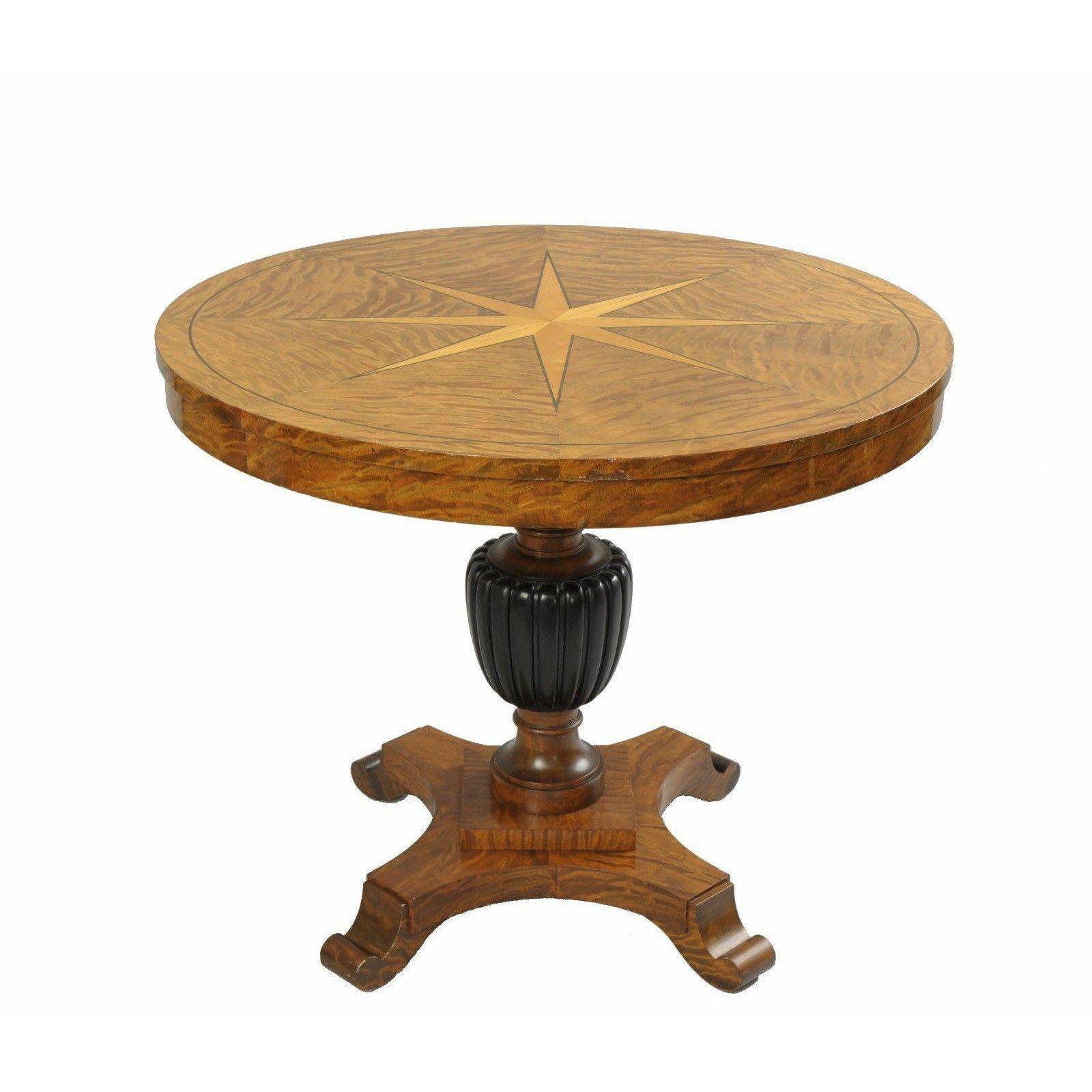 biedermeier style 36 round center table star inlaid marquetry burl