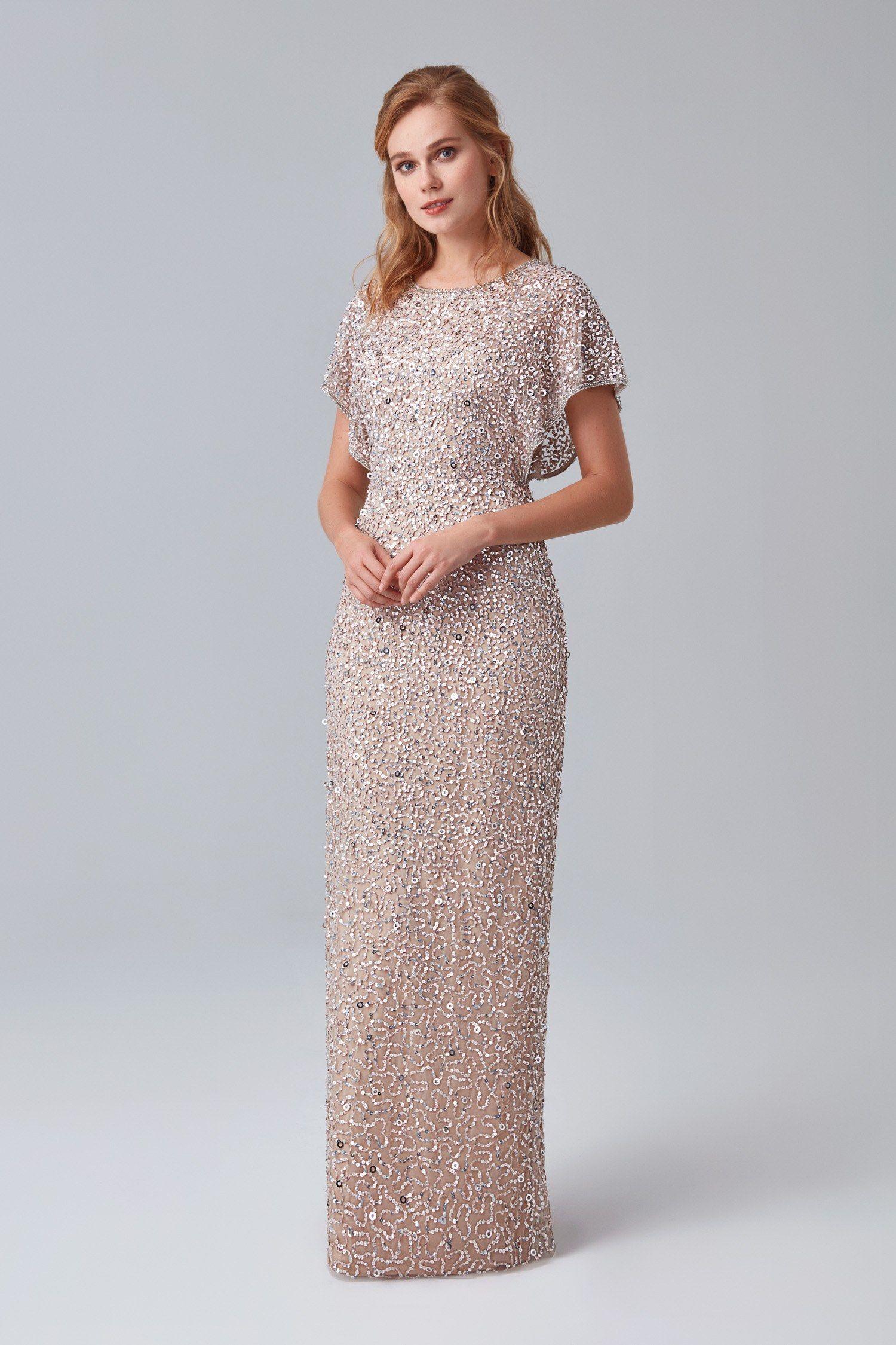 Gumus Payetli Ten Rengi Kisa Kollu Pullu Uzun Anne Abiyesi Elbise Elbise Modelleri The Dress