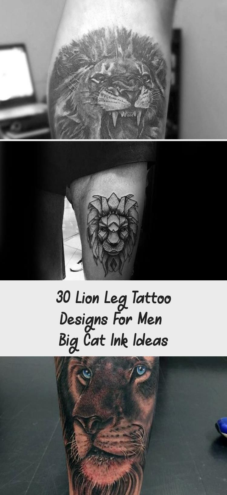 Amazing Mens Lion With Skull And Roman Numeral Clock Leg Tattoo