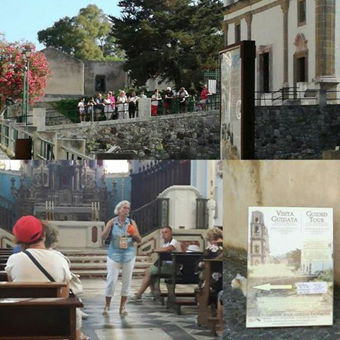 Ute is explaining the importance of Saint Bartholomew inside the Cathedral of Lipari and the archaeological site