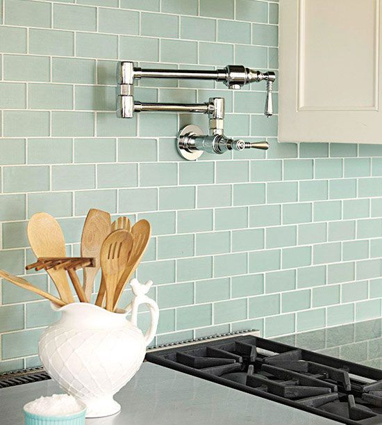 Green Kitchen Backsplash: Subway Tile Backsplash