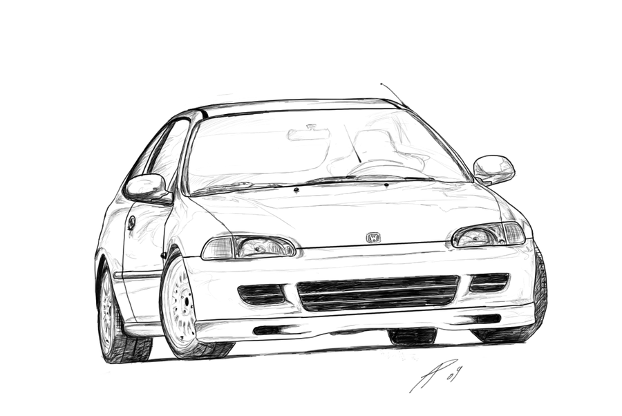 Honda Civic Eg Hatch Sketch by TwinFlow.deviantart.com on