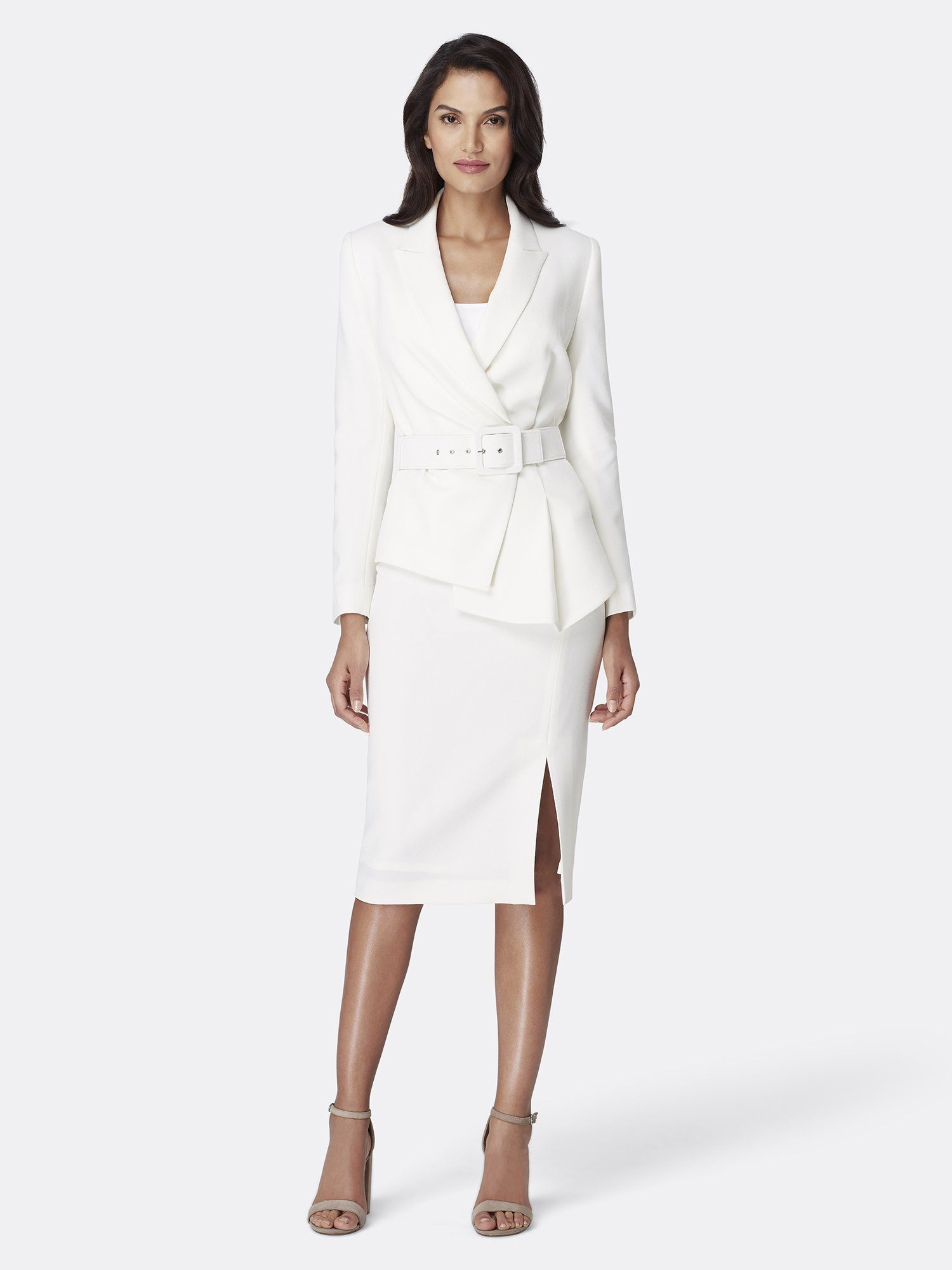 Skirt Set Tahari By ASL Womens Belted Notch Collar Jacket with Pencil Skirt Set Suit