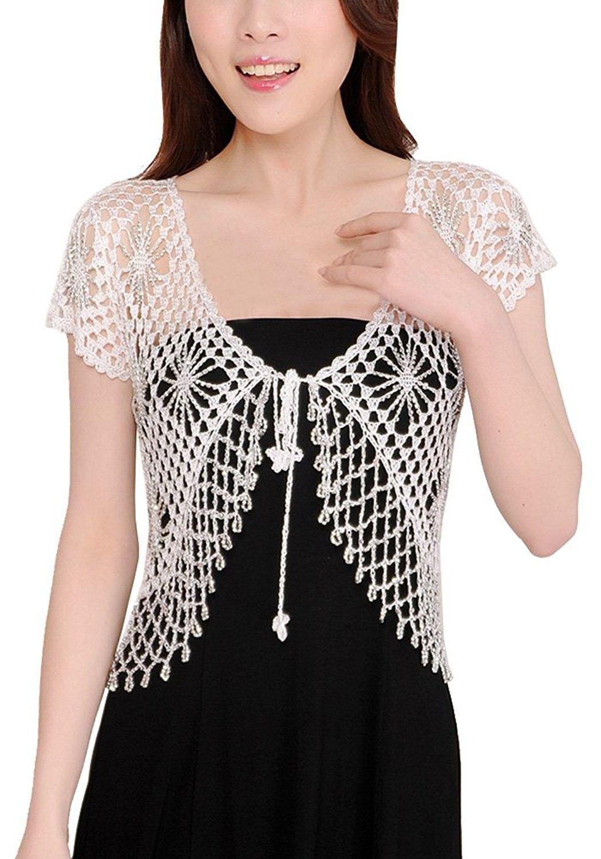 Women Crochet Knitted Handmade Short Sleeve Shrug Cardigans White Cf12drxsvdb Crochet Top Pattern Crochet Summer Tops Sweaters For Women [ 1500 x 1050 Pixel ]
