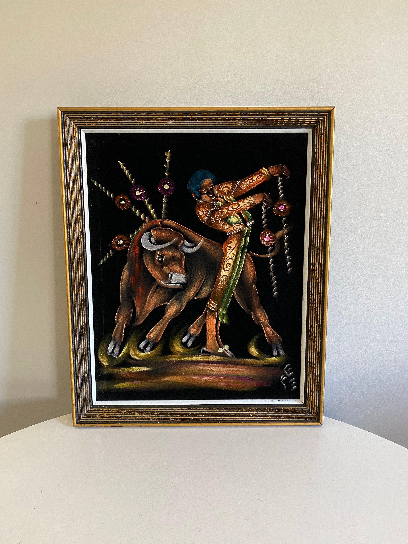 Vintage Black Velvet Matador Painting Bull Fighting Painting Mexican Black Velvet Art 1960s Bull Fighter Artwork Kitschy Man Cave Art By Capecodmodern On Et In 2020