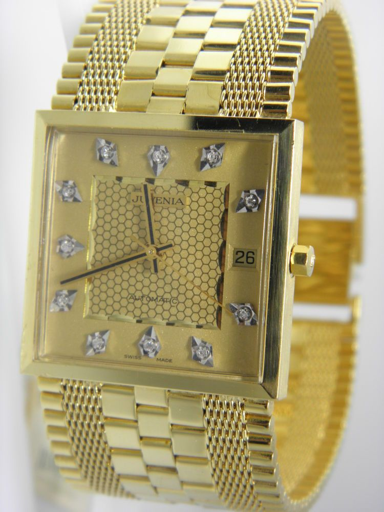 18k Gold Juvenia Macho Men S Automatic 25j Watch With Box No Papers