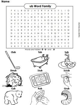 Ub Word Family Word Search Coloring Sheet Phonics Worksheet