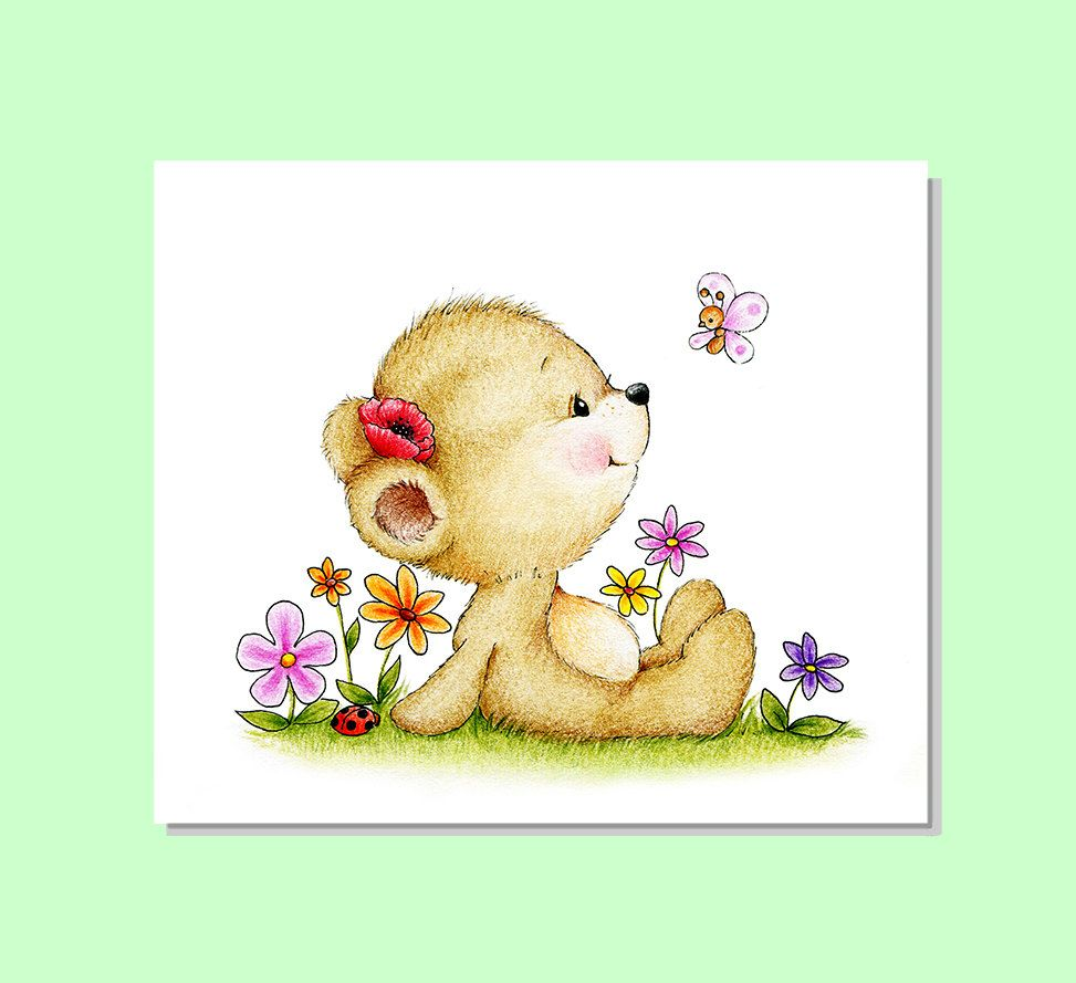 Teddy Bear Nursery Art, Teddy Bear Garden, Animal Nursery Print ...