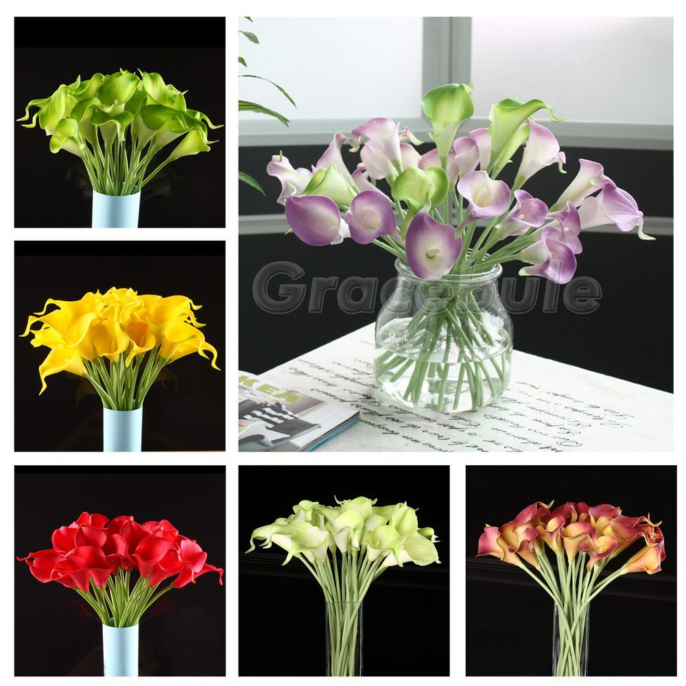 20 Head Real Latex Touch Calla Lily Flower Bouquets Bridal Wedding DIY Bouquet