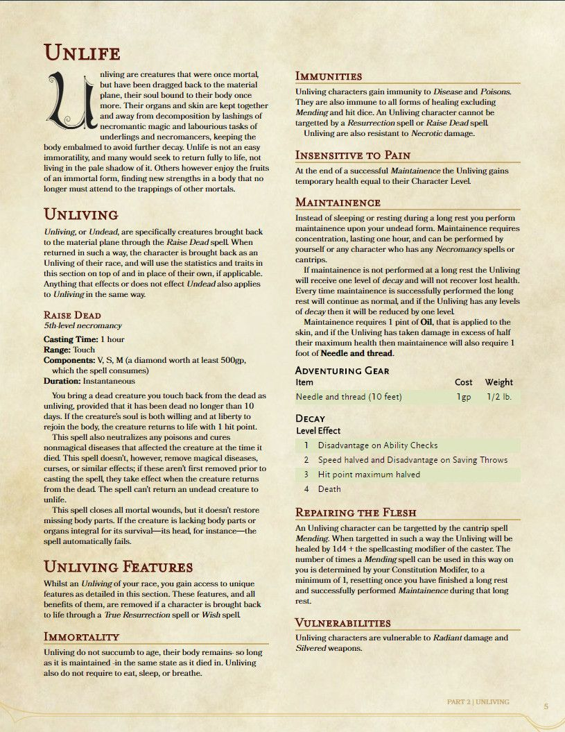 Homebrew] I wasn't satisified with undead as monster only